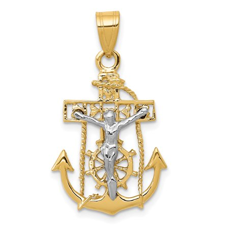 14k Gold Mariners Cross - 14kt Two Tone Yellow Gold Nautical Anchor Ship Wheel Mariners Cross Religious Pendant Charm Necklace Mariner Fine Jewelry Ideal Gifts For Women Gift Set From Heart