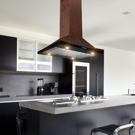 "AKDY 30"" Island Mount Range Hood Embossed Copper 4 Speed Touch Control for Kitchen ()"