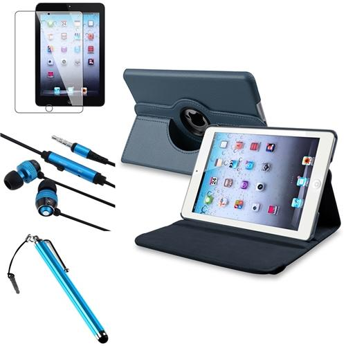 iPad Mini 3/2/1 Case, by Insten 4 in 1 Navy Blue Leather Case Clip 3.5mm Stylus Film For iPad Mini 2 3 (Auto Sleep/Wake)