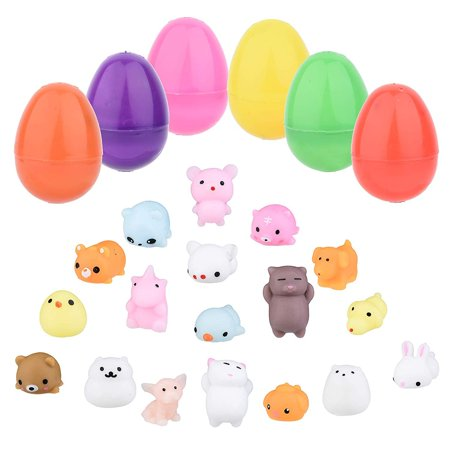 Totem World 24 Toy Filled Easter Eggs With Squishy Animal Toys - Ready To Hide And Hunt - Save Time With Convenient, Reusable Filled Eggs - Perfect As Easter Basket Fillers or Party Favors