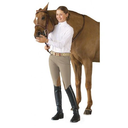 - Ovation Girl's Euro Seat Knee Patch Side-Zip Breeches - 16 / Tan