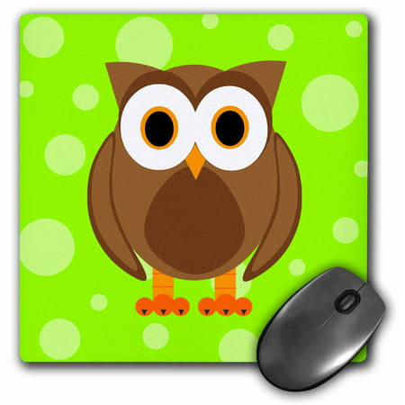 3dRose Cute Brown Owl on Bright Green Background, Mouse Pad, 8 by 8 inches ()