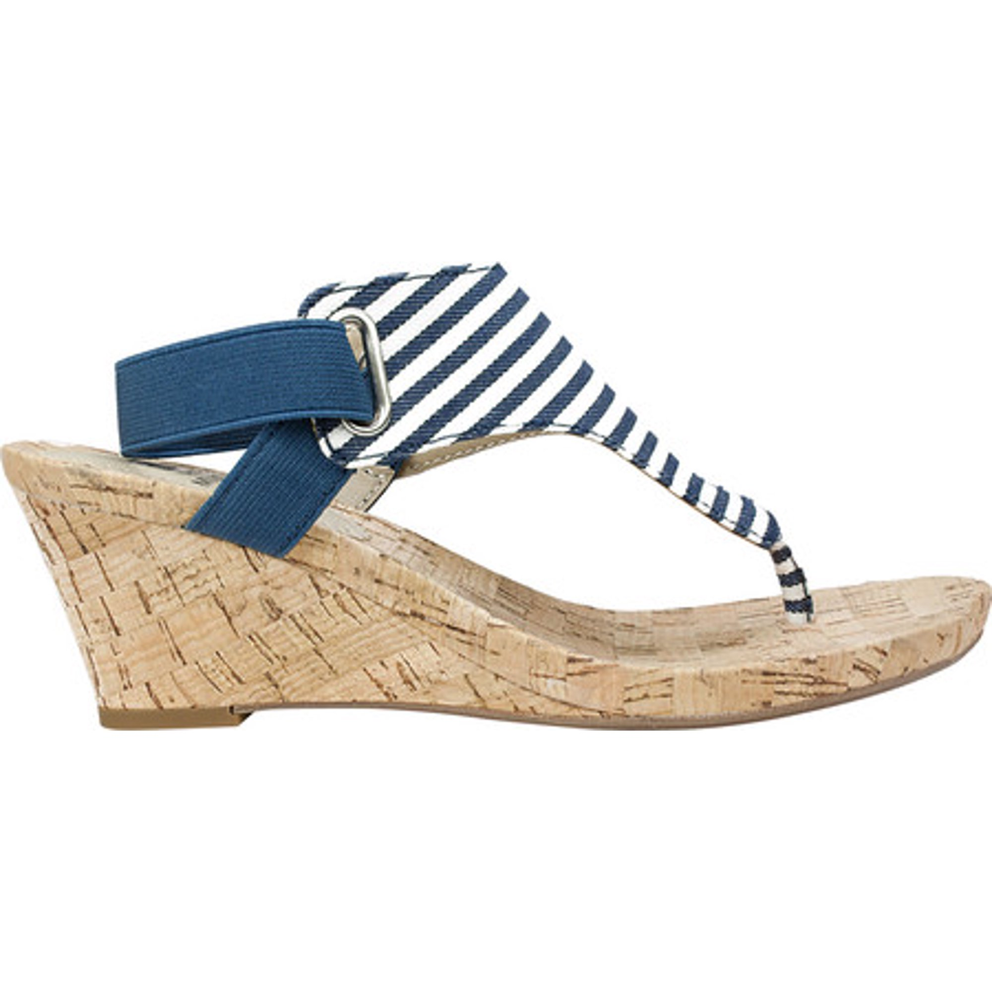 add72df12ccb41 Women s White Mountain All Good Wedge Sandal Navy White Canvas Stripe  Fabric 11 M