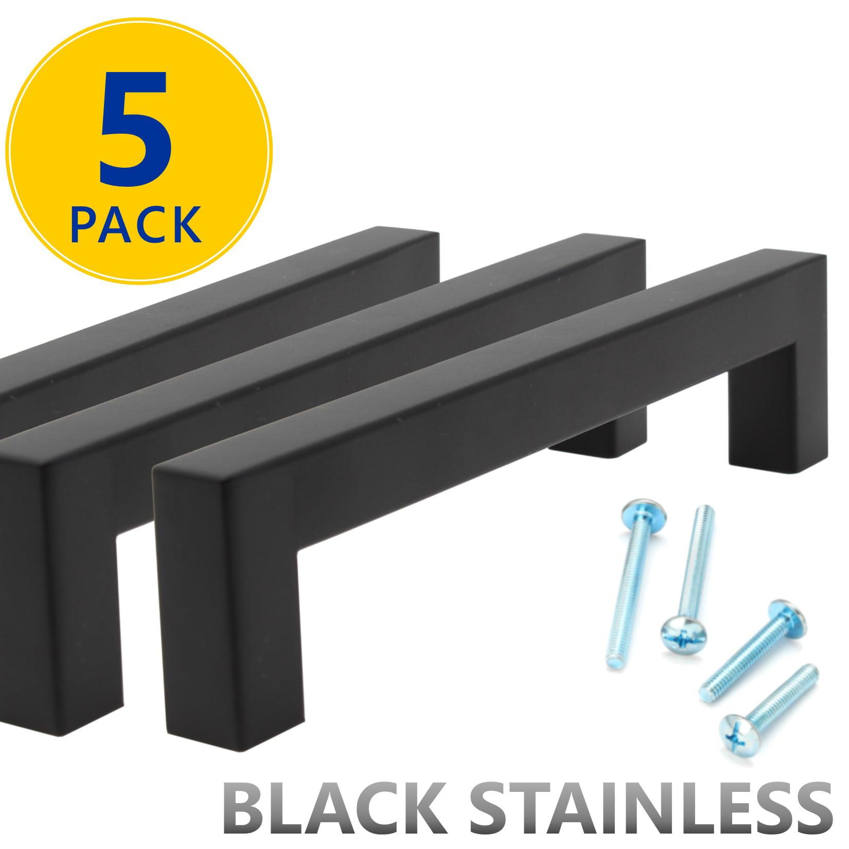 5 Pack Flat Black Square Bar Cabinet Pulls 5 Hole Center 128mm