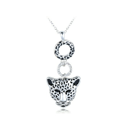 - African Spotted Cheetah Cat Head Face Ring Rhinestone Crystal Pendant Necklace