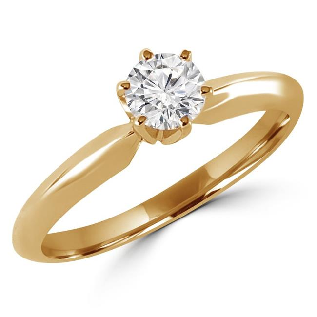 Majesty Diamonds MD170156-8.5 0.37 CT Round Diamond Solitaire Engagement Ring in 14K Yellow Gold - 8.5