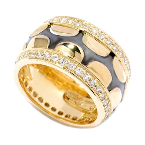 Sonia Bitton  Yellow Gold and Rhodium-plated Sterling Silver CZ Scalloped Eternity Band