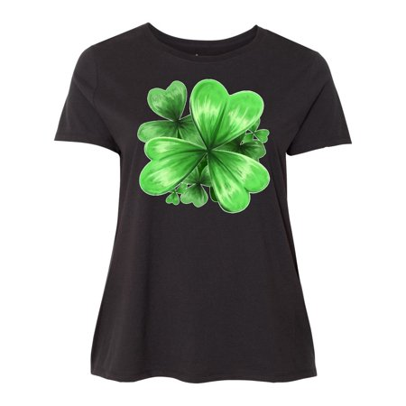 Painted Clover Patch- shamrocks for St. Patricks Day Women's Plus Size (Cotton Utility Shirt Patch)