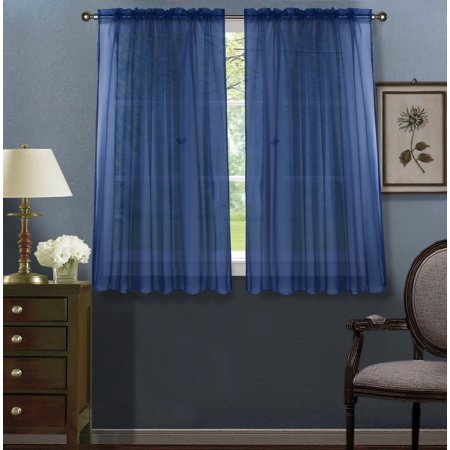 2pc Navy Blue Solid Sheer Voile Window Curtain Set, Two (2) Rod Pocket Panels 55