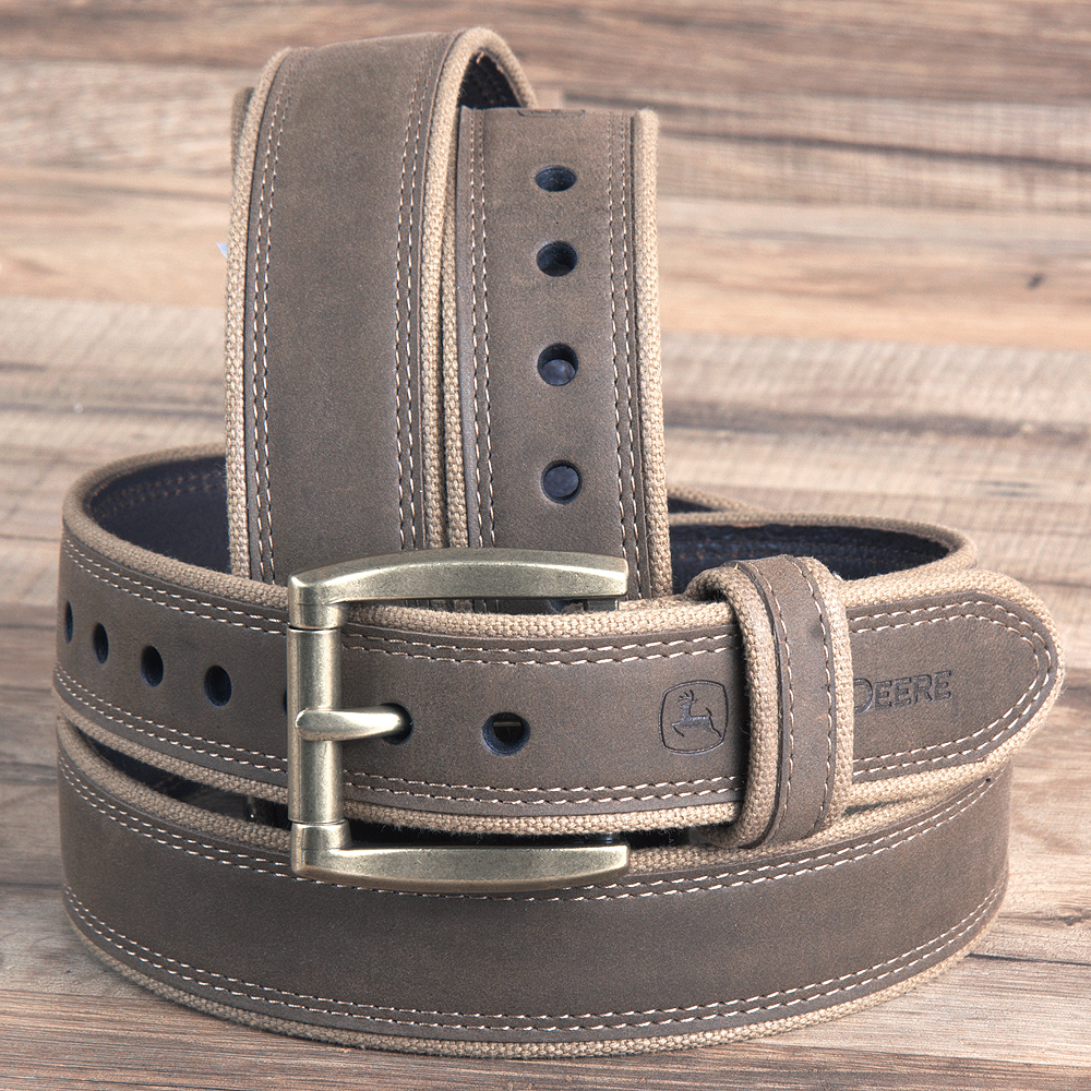 "32"" JOHN DEERE CRAZY HORSE LEATHER COWBOY MENS 1.5"" BELT ROLLER BUCKLE BROWN"