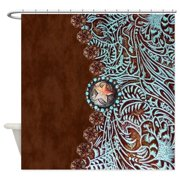 CafePress - Western Turquoise Tooled Leather - Unique Cloth Shower Curtain