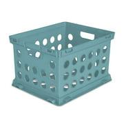 "Sterilite Plastic Storage Cube / File Crate, 17 1/4"" L x 14 1/4"" W x 10 5/8"" H, Aqua Haze, Back to College"