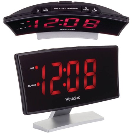 Westclox 71018 Curved-Screen Large Readout Alarm Clock