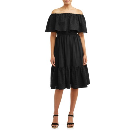 e2d51fffa584 Sofia Jeans by Sofia Vergara - Eyelet Embroidered Off-the-Shoulder Midi Dress  Women's - Walmart.com