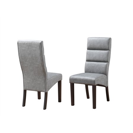 Olivia Parsons Dining Chairs, Gray Faux Leather & Cappuccino Wood Legs, Transitional (Set Of 2)