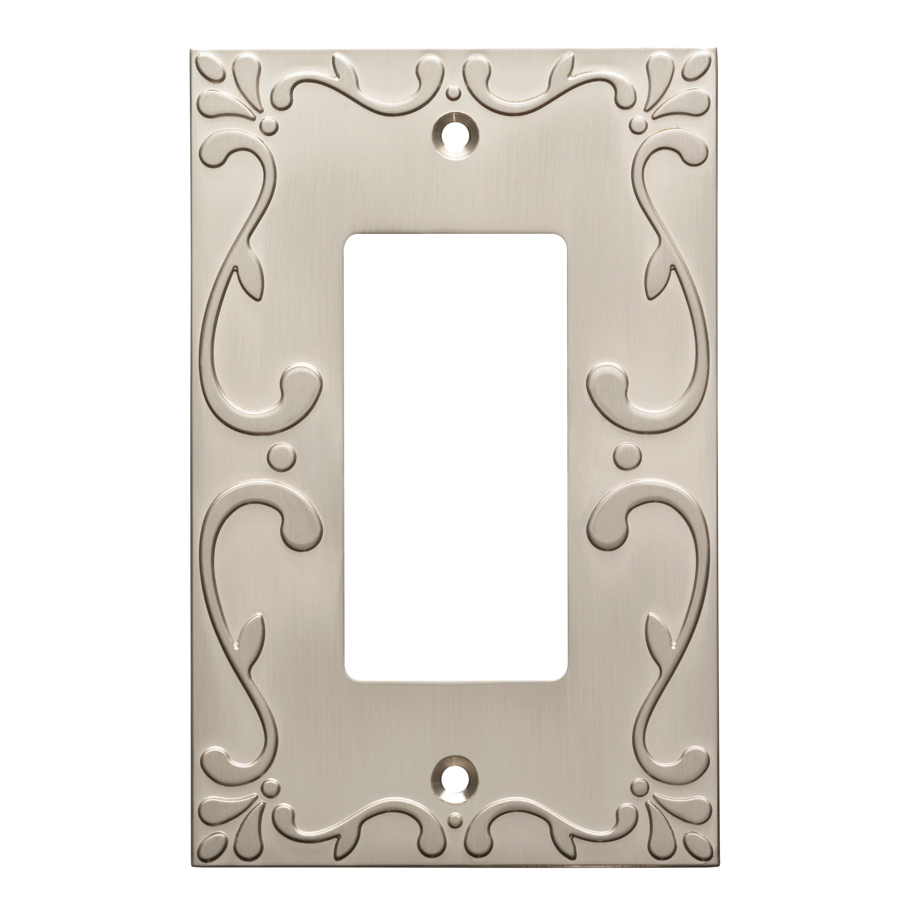 Franklin Brass Classic Lace Single Decorator Wall Plate in Satin Nickel