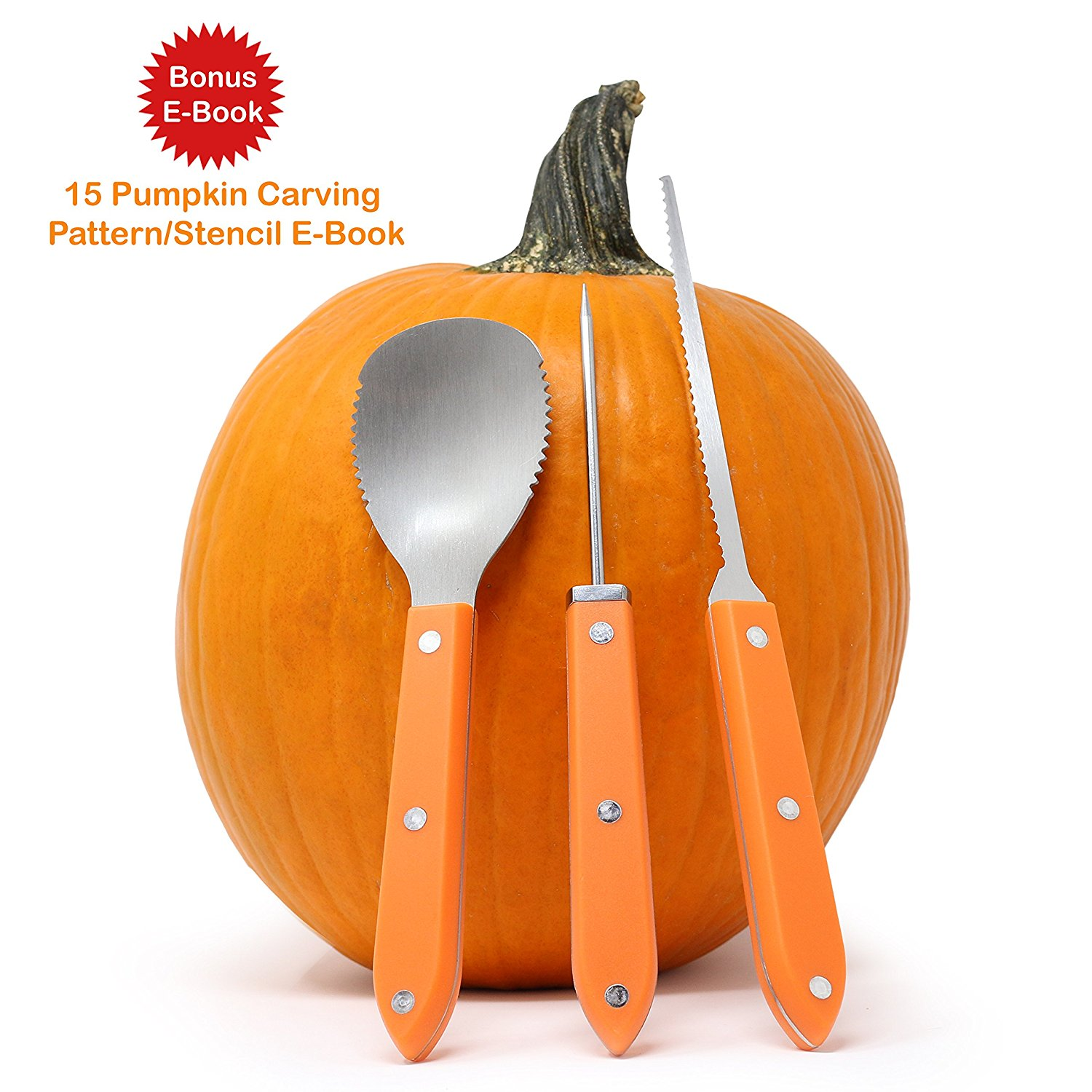 Premium 3 Piece Pumpkin Carving Kit (Plus 15 Pumpkin Carving Pattern/Stencil E-Book) Sturdy Stainless Steel Pumpkin Tools Crafted For Efficiency While Carving Your Pumpkin, by