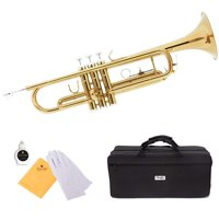 Mendini by Cecilio MTT-L Gold Lacquer Brass Bb Trumpet with Durable Deluxe Case and 1 Year Warranty