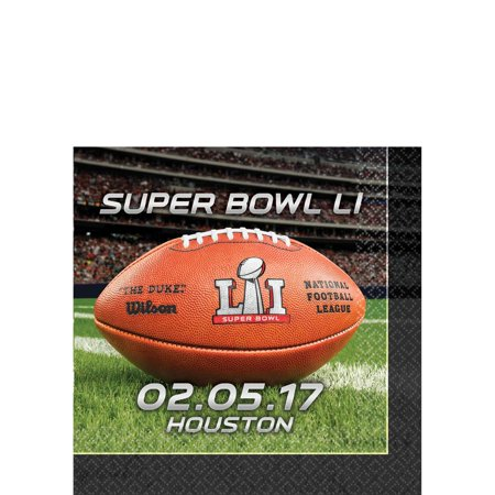 Amscan Super Bowl LI 51 NFL Stadium Football 10in Beverage Napkins, 16