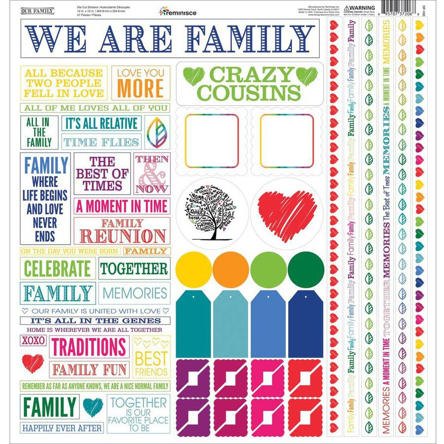 "Our Family Cardstock Multi Stickers, 12"" x 12"""