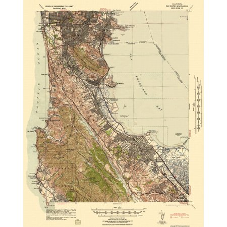 Old Topographical Map Print   San Mateo California Quad  Tactical   Us Army 1942   23 X 28 81