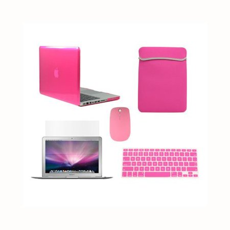 TOP CASE 5 in 1 Bundle - Crystal Hard Case Cover + Sleeve Bag + Wireless Mouse + Silicone Keyboard Skin + Screen Protector for Macbook Pro 13