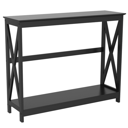 2-Tier X Design Storage Console Table Entry Hall Table Living Room Entrance Furniture, Black ()