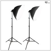 """22"""" Dual Octagon Softbox Light Stand Kit with White Diffuser, Aluminum Alloy Stands, and 45W CFL Bulbs by Loadstone Studio WMLS0916"""