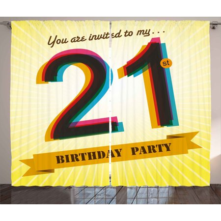 21st birthday decorations curtains 2 panels set invitation to an