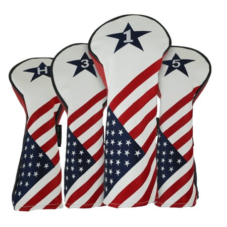 RAM GOLF USA STARS AND STRIPES PU LEATHER HEADCOVER SET For DRIVER, #3 WOOD, #5 WOOD, HYBRID Star Wars Golf Headcover