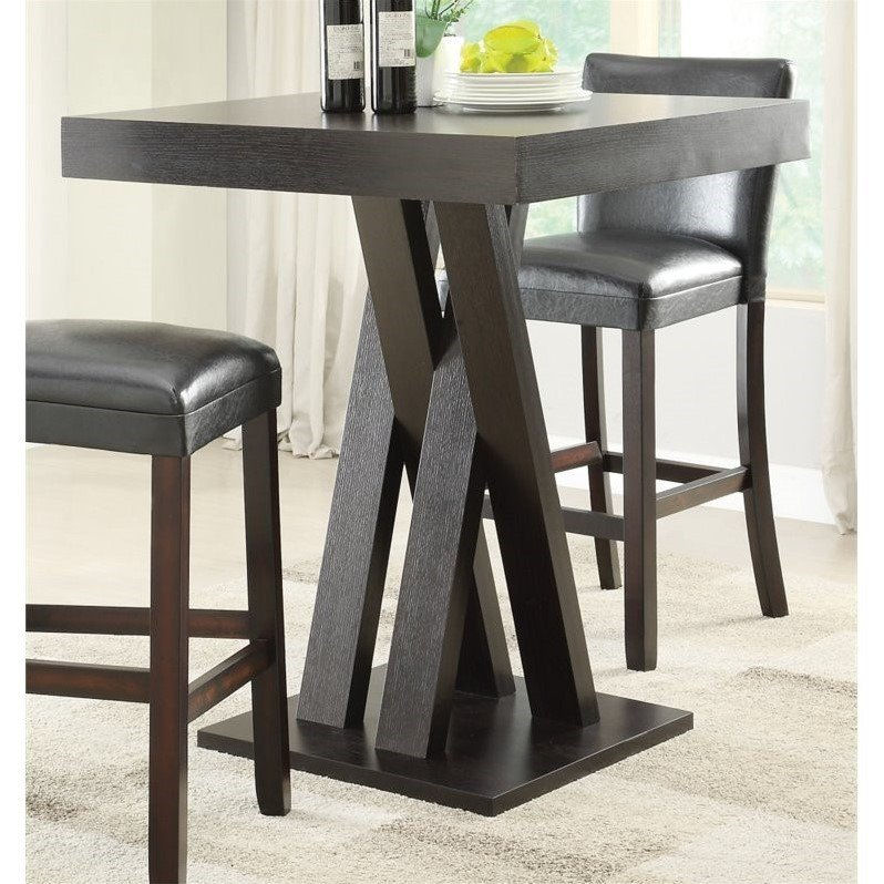Coaster Crisscross Pub Table in Cappuccino by Overstock