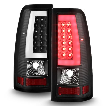 - Fit 2003-06 Silverado 1500 2500 HD 2004-2006 3500 Black LED Tube Tail Lights L+R