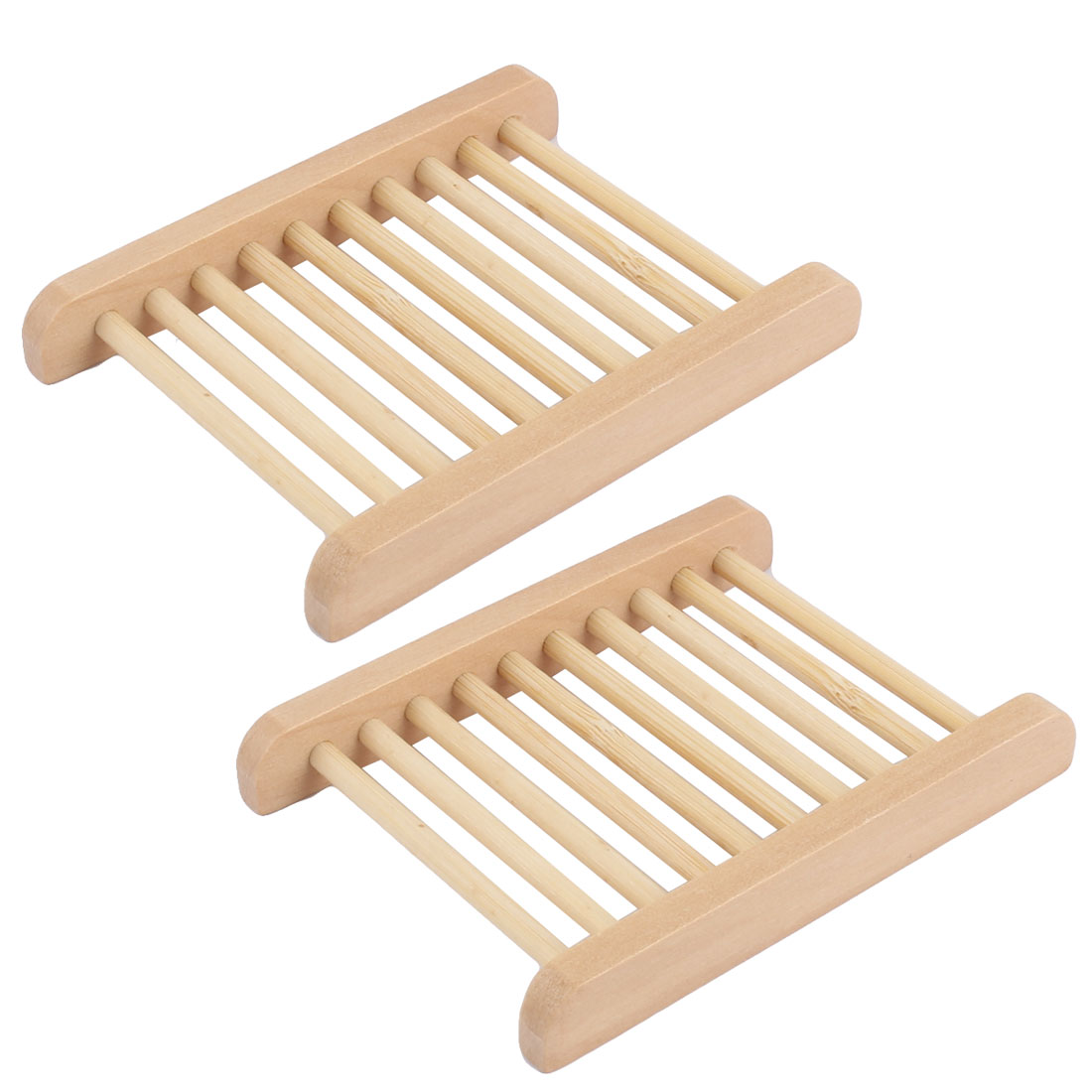 Uxcell Bathroom Natural Wooden Shower Soap Holder Rack Tray 11.5 x 8.5cm 2pcs