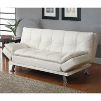 Kingfisher Lane Faux Leather Sleeper Sofa in White and Chrome
