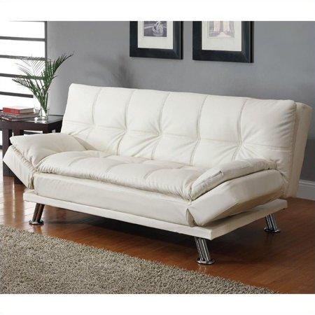 Kingfisher Lane Faux Leather Sleeper Sofa in White and Chrome White Sofa Couch