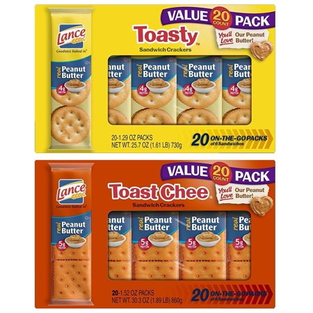 Lance Sandwich Crackers, Toasty and Toastchee Peanut Butter, 40 Ct