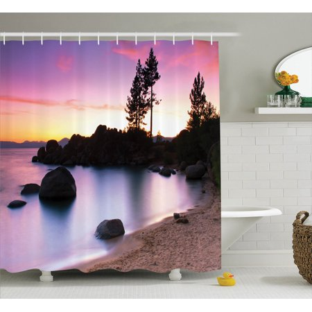 Lake House Decor Shower Curtain Set  Golden Sandy Beach By The River With Fairy Sky Light Relax Simple Life Art Photo  Bathroom Accessories  69W X 70L Inches  By Ambesonne