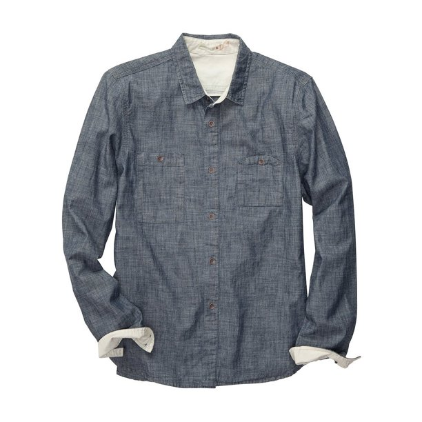 ALTERNATIVE Vista Cotton Shirt Medium M Chambray Blue Button Front
