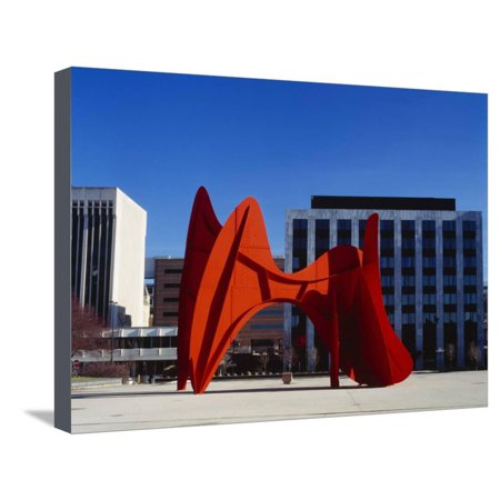 Alexander Calder Sculpture - Sculpture in Front of a Building, Alexander Calder Sculpture, Grand Rapids, Michigan, USA Stretched Canvas Print Wall Art