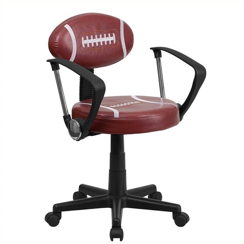 Scranton & Co Football Task Office Chair with Arms in Brown and Black