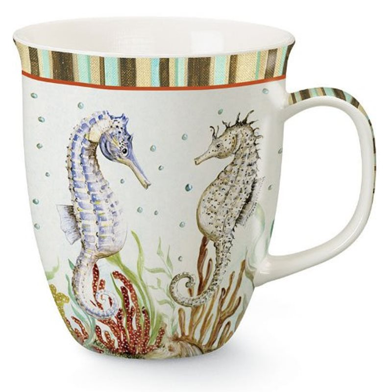 Coastal Seahorse Couple Partners Coffee Latte Tea 16 Ounce Mug