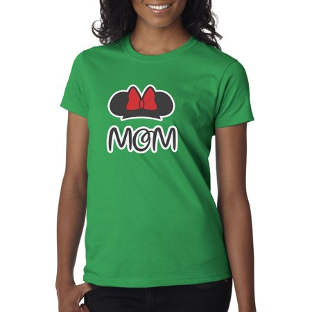 Adult Minnie Mouse Shirt (New Way 671 - Women's T-Shirt Mom Fan Minnie Mouse Ears Bow)