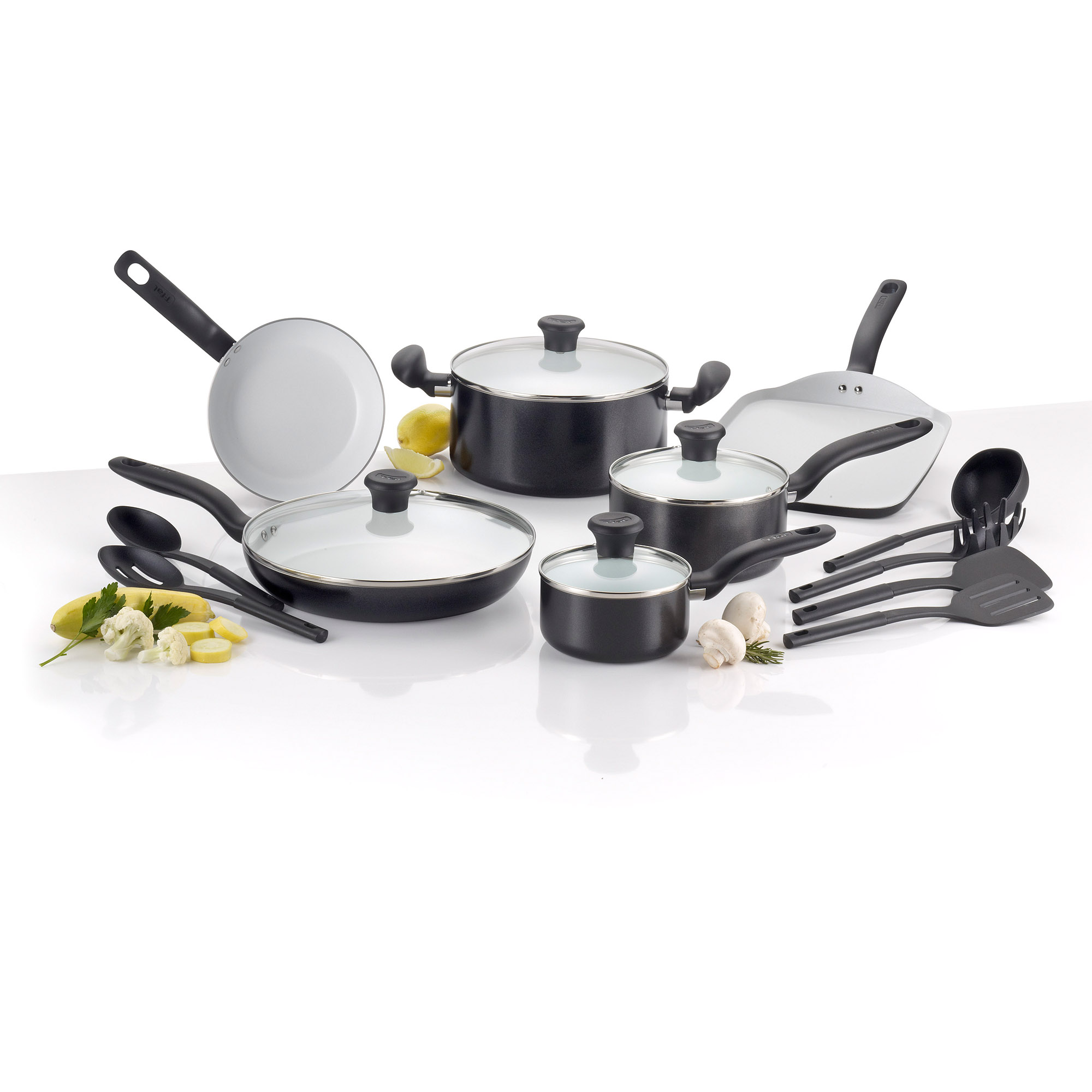 T-Fal Initiatives Ceramic Non-Stick 16-Piece Cookware Set, Black
