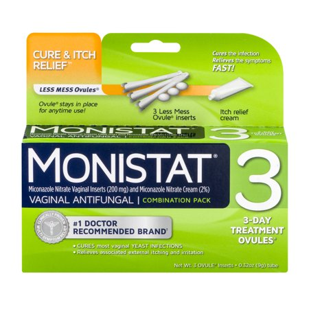 Feminine Relief - Monistat 3 Vaginal Antifungal 3-Day Treatment Ovules Cure & Itch Relief