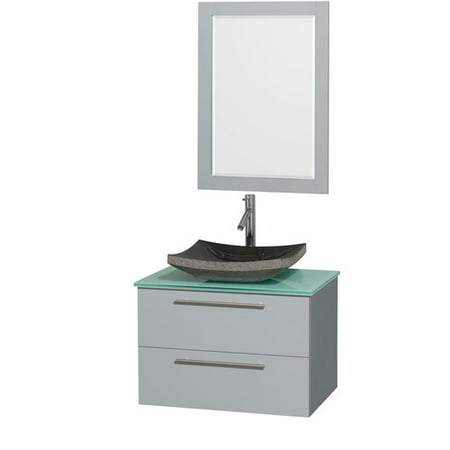 Dove Grey Glass (Wyndham Collection Amare 30 inch Single Bathroom Vanity in Dove Gray, Green Glass Countertop, Pyra Bone Porcelain Sink, and 24 inch)