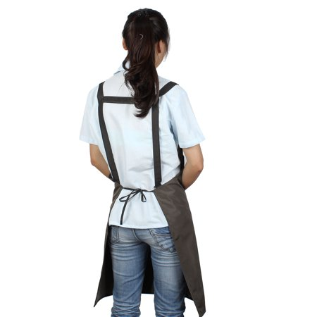 Kitchen Cooker Waterproof Dual Pockets Cooking Apron Bib Dress Coffee Color - image 2 of 3