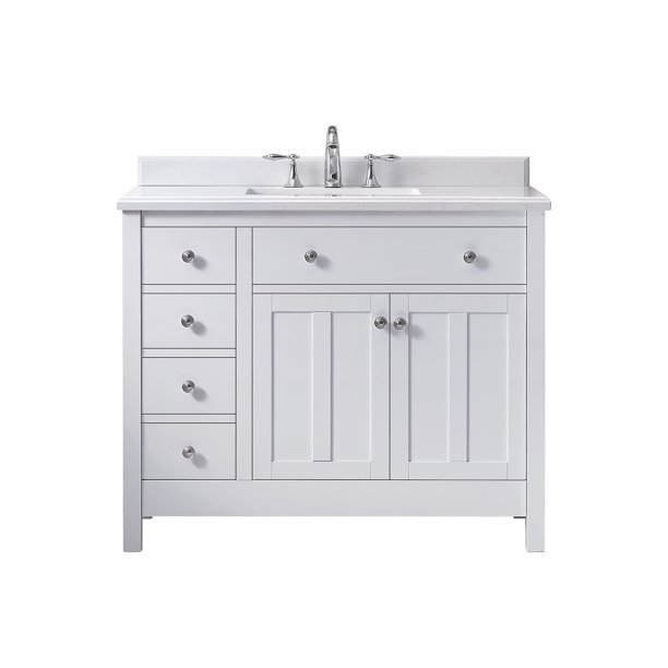 Ove Decors Newcastle 42 In White Single Sink Bathroom Vanity With Yves Cultured Marble Top Walmart Com Walmart Com