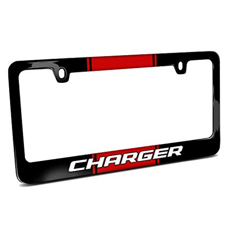 Dodge Charger Racing Stripe Black Metal License Plate