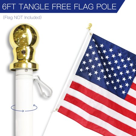 6 Feet Tangle-Free Flagpole, ANLEY Aluminum Spinning Wall Mount Flag Pole – Heavy Duty, Weather Resistant & Rust Free –