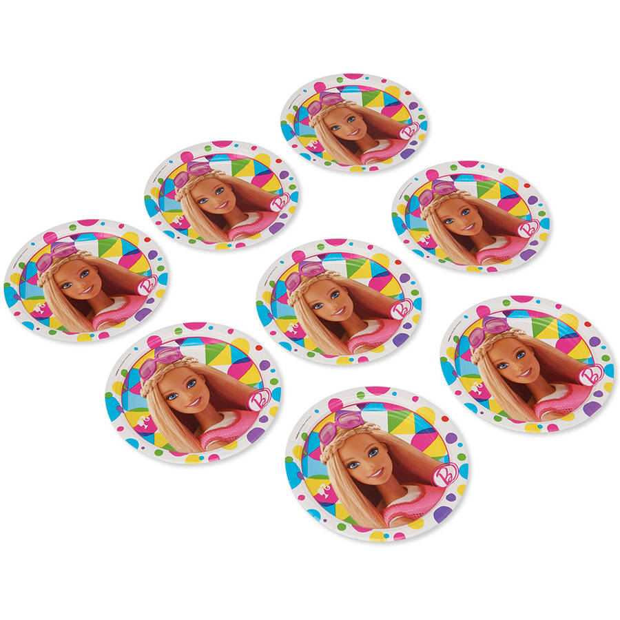"Barbie 7"" Round Plate, 8 Count, Party Supplies"